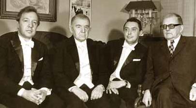 Д.Д. Шостакович с Ф. Дружининым, Д.Цыгановым и Н. Забавниковым