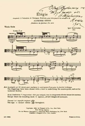 Посвящение Элегии для альта соло И. Стравинского